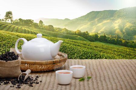 Warme Tasse Tee mit Teekanne, grünen Teeblättern und getrockneten Kräutern auf der Bambusmatte am Morgen im Plantagenhintergrund mit leerem Raum, Bioprodukt aus der Natur für gesundes mit traditionellem