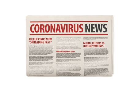 Mockup of Coronavirus Newspaper, News related of the COVID-19 the the headline in paper media press production concept isolated white background