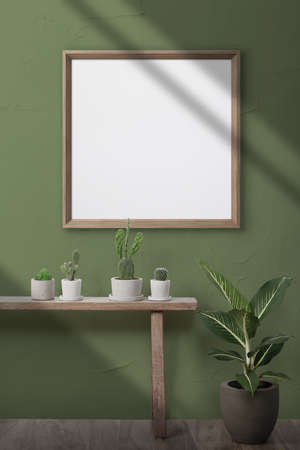 Template photo frame mockup on a green surface wall