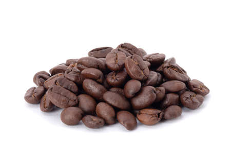 Roasted coffee beans studio shot isolated on white background, Healthy products by organic natural ingredients concept 免版税图像