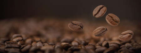 The hot of brown roasted coffee beans falling from the air on brown background long banner with copyspace, Healthy products by organic natural ingredients concept