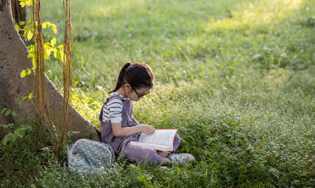 A pretty little Asian girl reading a book under the big tree. Stock Photo
