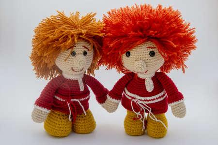 Two brothers Domov?nka Amigurumi toys. Stok Fotoğraf