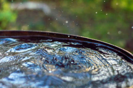 Drops from the roof fall into a barrel overflowing with water. Rain water is pure distillate.
