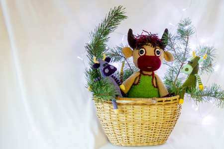 Dolls in a basket with fir branches.