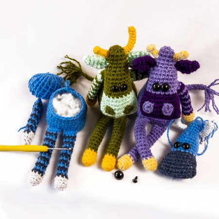 The process of crocheting amigurumi dolls