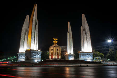 The democracy monument was taken during night by using slow speed shutter technique. The colour lines in this picture are automotive lighting