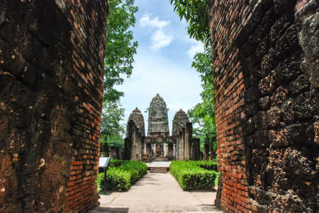 regarded: Wat Si Sawai is situated to the south of Wat Mahathat  Its three prang  imitating Hindu Shikhara Vimanas  are regarded as ancient monument of significance. Stock Photo