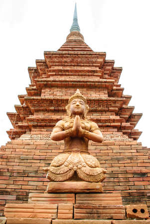 The angel with isolated contemporary brick pagoda photo