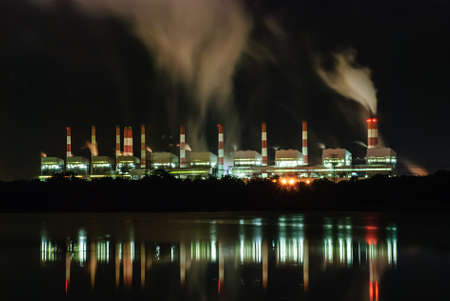 Coal power plant with steam pouring out of the stack, Mae Moh Power Plant, Lampang, Thailand  Stock Photo - 21788119