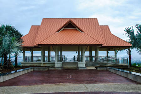 reclamation: The pavilion with light orange roof on the top of reclamation field, Mae Moh Mine, Thailand