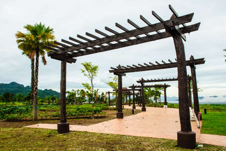 reclamation: the wooden arch in the garden, top of the reclamation field, Mah Moh Mine, Thailand
