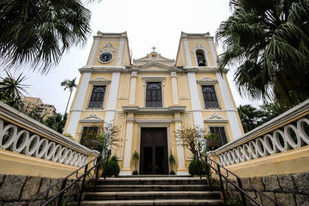 lawrence: St  Lawrence Church is designation for the Historic Centre of Macau, was built in one of the most affluent neighborhood during the 1840 s, Sao Lourenco is a lovely neo-classical church  Stock Photo