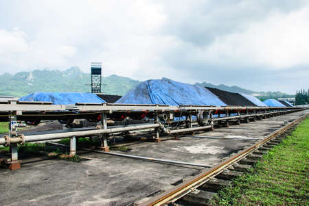 transported: Coal was transported by coveyor belts from open-pit mine to the stock pile, Mae Moh mine, Lampang, Thailand