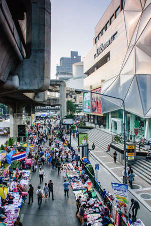 Bangkok, Thailand – Jan 22  There are a lot of shops and stalls on Rama 1 road after Thai anti-government protesters close Pathumwan intersection on Jan 22, 2014, Siam Square, Thailand  Rallies against a proposed amnesty for most political offenses stre Editorial
