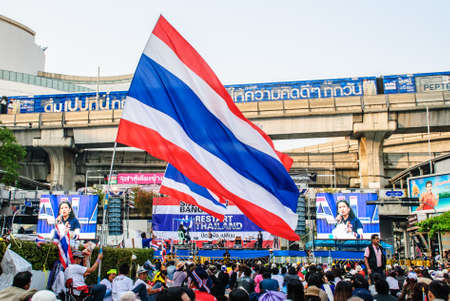 Bangkok, Thailand – Jan 22  Thai anti-government protesters rally at Pathumwan intersection on Jan 22, 2014 Bangkok, Thailand  Rallies against a proposed amnesty for most political offenses stretching back to a 2006 coup that toppled Yingluck's brothe