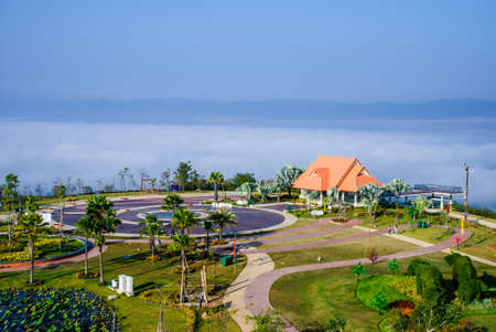 reclamation: A scenic pavilion with a beautiful garden in the sea mist, top of reclamation field, Mae Moh mine, Lampang, Thailand