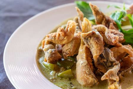 Green curry with chicken and crispy fried fish skin