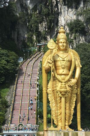 golden statue of lord muragan outside the batu caves hindu shrine near kuala lumpur malaysia Stock Photo - 6494571