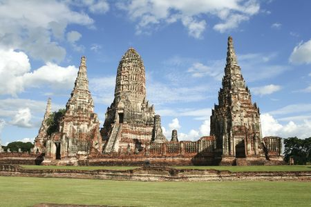 sacked: riverbank temple of ayutthaya in thailand, the former capital of siam destroyed in 1767, when the city was sacked by the burmese Stock Photo
