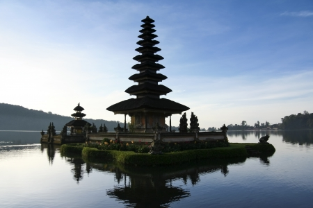 Pura Ulun Danu temple on lake brataan, bali, indonesia photo