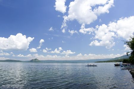bankas crossing volcanic crater lake to taal volcano near tagaytay in the philippines photo