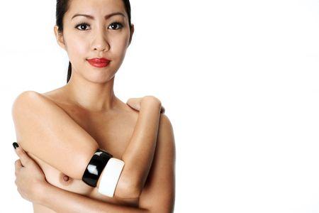 filipina: light skinned asian (filipina) model wearing black and white bangles