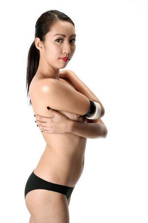 filipina: light skinned asian (filipina) model contrasting black and white