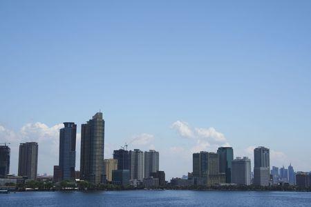 high rise condominiums lining manilas baywalk and ermita waterfront districts seen from manila bay