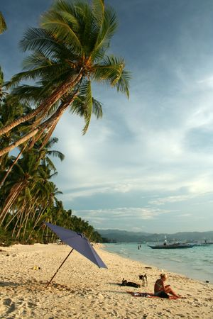 fine white sand beach of boracay in the philippines photo