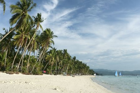 boracay: palms trees and white sand of boracay island in the philippines Stock Photo