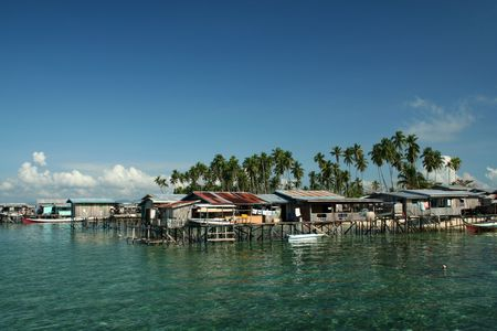 mabul: fishing village on mabul island sabah malysian borneo Stock Photo