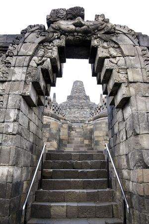 detail of  borobudur temple ruins near yogyakarta in java indonesia, a 9th century Mahayana Buddhist monument abandoned following the 14th century decline of Buddhist and Hindu kingdoms in Java photo