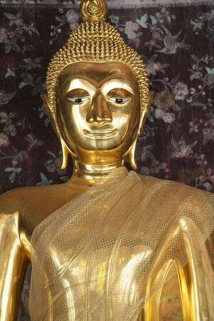 golden buddha in wat suthat buddhist temple in bangkoks old city thailand photo