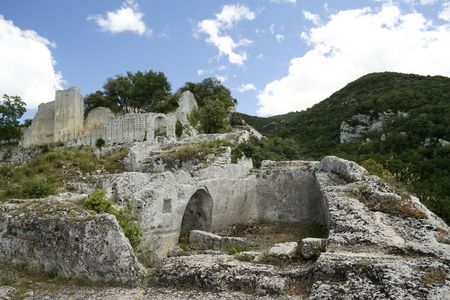 lourmarin: remains of roman hill fort at buoux in provence france
