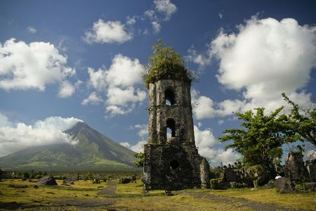 ruins of cagsawa church and mayon volcano in albay province south luzon in the philippines
