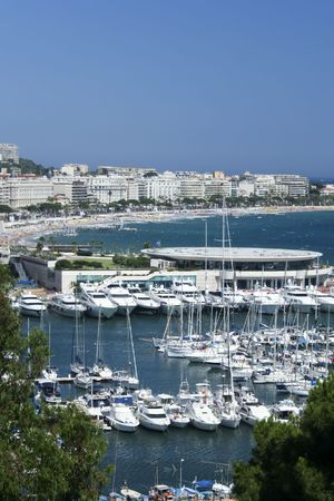 blue skies over yachts in cannes on the French Riviera