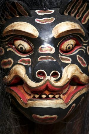 close-up of traditional balinese mask in ubud bali Stock Photo