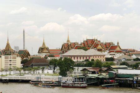 chao praya: chao praya river ferry near the grand palace in bangkok thailand Stock Photo