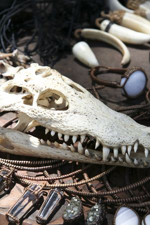 crocodile skull and ethnic jewelery for sale in souvenir market in the philippines