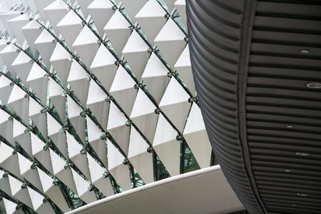 domes: close up detail of the esplanade theatre in singapore city state