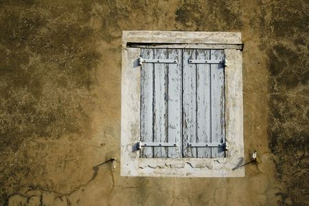 close-up detail of old wooden door in lourmarin provence france photo