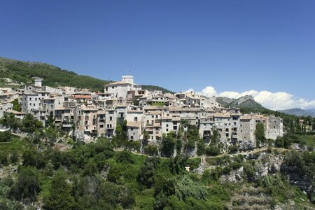 d���azur: traditional hill town overlooking the cote d,azur in the south of france Stock Photo