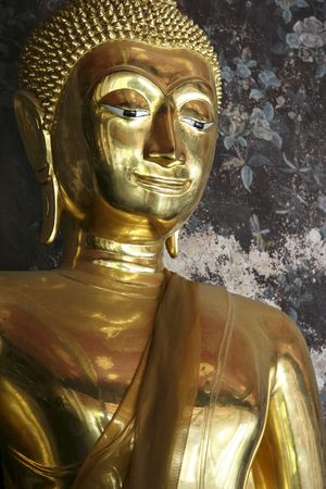 golden buddha in wat suthat buddhist temple in bangkoks old city thailand photo