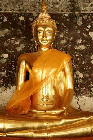 golden buddha in wat suthat buddhist temple in bangkoks old city thailand Stock Photo