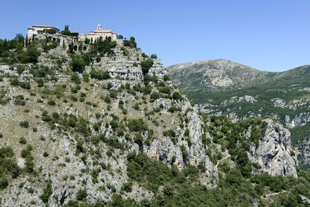 d���azur: gourdon monastery overlooking the cote d,azur in the south of france