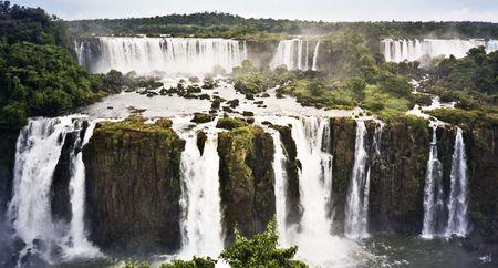 iguazu falls marking the border between brazil and argentina photo