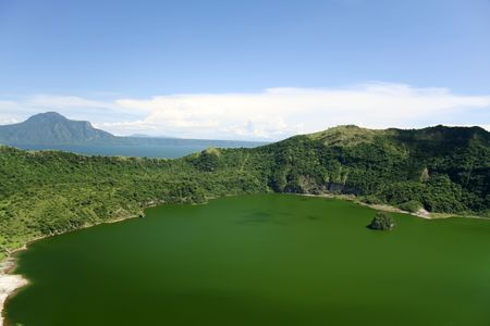 taal crater lake seen from the slopes of the highly active taal volcano tagaytay in the philippines Stock Photo