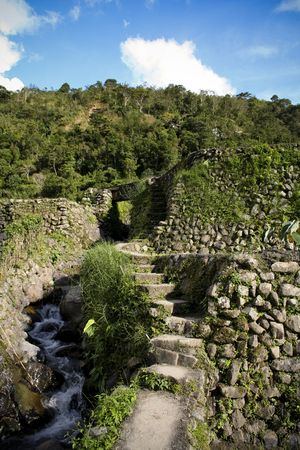 stone walls of rice terraces in northern philippines photo