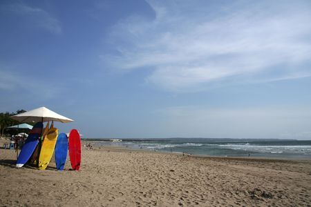 colorful surfboards on kuta beach bali